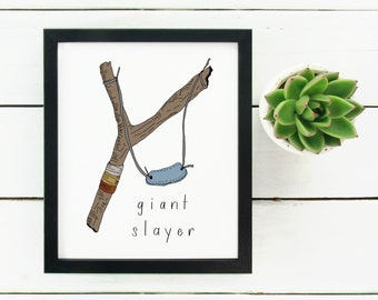 Digital Print Hand Drawn Slingshot Giant Slayer | Boy Room | Nursery Decor | David and Goliath | Christian Print