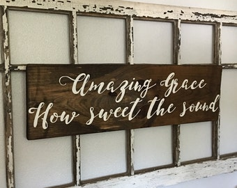 Wooden Sign with Handpainted Hymn Amazing Grace
