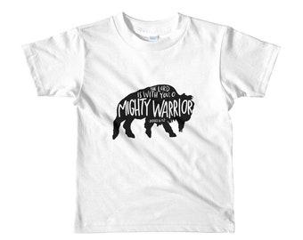 Buffalo Mighty Warrior Short sleeve kids t-shirt | Kids Tee | Christian Clothing | Judges 6:12