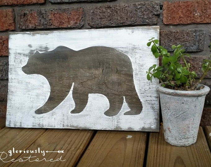 Hand Painted Bear Silhouette on Stained Wood