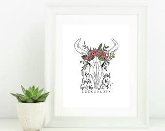 Digital Print with Scripture Bible Verse O Dry Bones Hear the Word of the Lord Ezekiel 37:4 Cow Skull Flower Garland