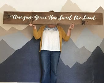 Hand Painted Wooden Sign Amazing Grace How Sweet the Sound