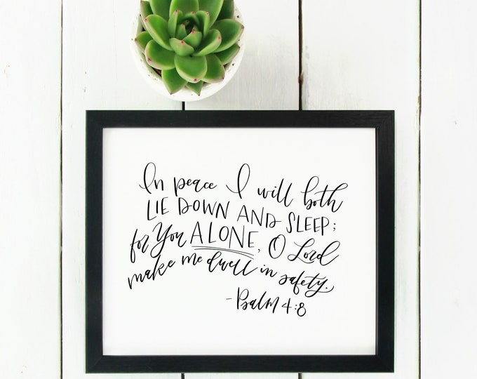 Digital File Psalm 4:8 Bible Verse | In peace I will both lie down and sleep | christian print | scripture
