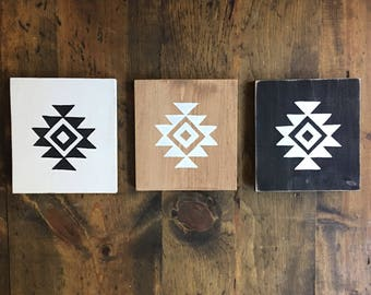 ONE Hand Painted Small Wooden Sign with Aztec Symbol Boho