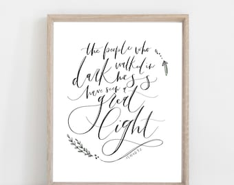 Digital Print Christmas Print | The Christmas Story | Isaiah 9 | The people who walked in darkness have seen a great light