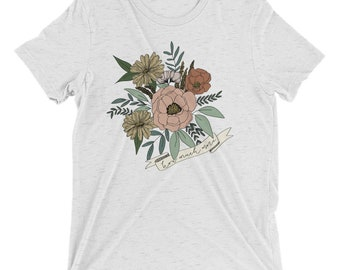 Short sleeve t-shirt Floral How Much More | Vintage Feel Shirt | Christian Clothing | Wear Your Faith | Consider the Wildflowers | Luke 12