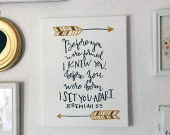 Hand Painted Canvas with Arrows and Scripture Jeremiah 1:5