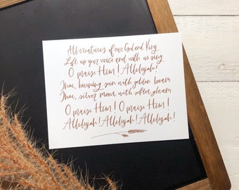 Digital Print Hand Lettered Hymn All Creatures of Our God and King   Hymn   Hymnal   Hand Lettered