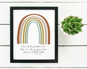 Digital Print Hand Lettered Bible Verse I have placed my rainbow in the clouds Genesis 9:13
