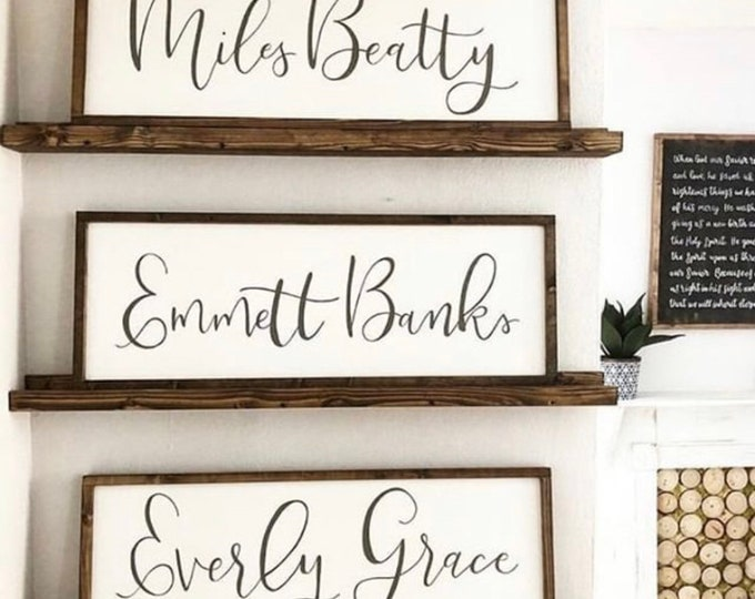 Hand Painted Framed Wooden Sign Personalized with Name