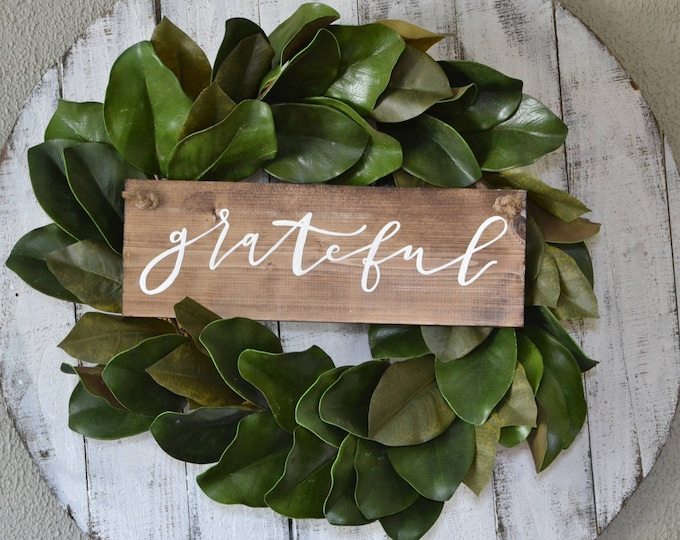 Hand Painted Wooden Door Hanger Wreath Sign Grateful