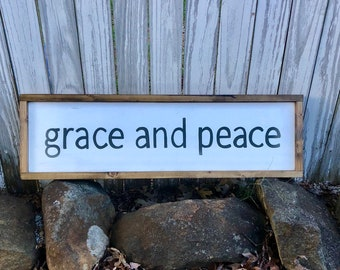 Hand Painted Wooden Framed Sign Grace and Peace