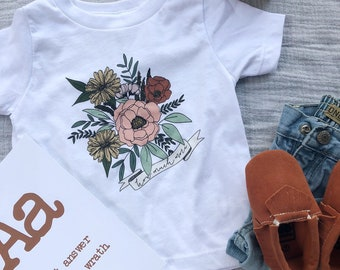 Toddler Girl Tee Floral How Much More | Vintage Feel Shirt | Christian Clothing | Wear Your Faith | Consider the Wildflowers | Luke 12