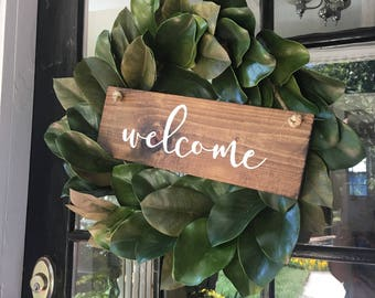 Hand Painted Wooden Door Hanger Wreath Sign Welcome