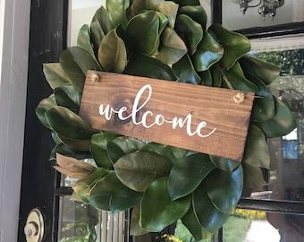Hand Painted Wooden Door Hanger Wreath Sign Welcome