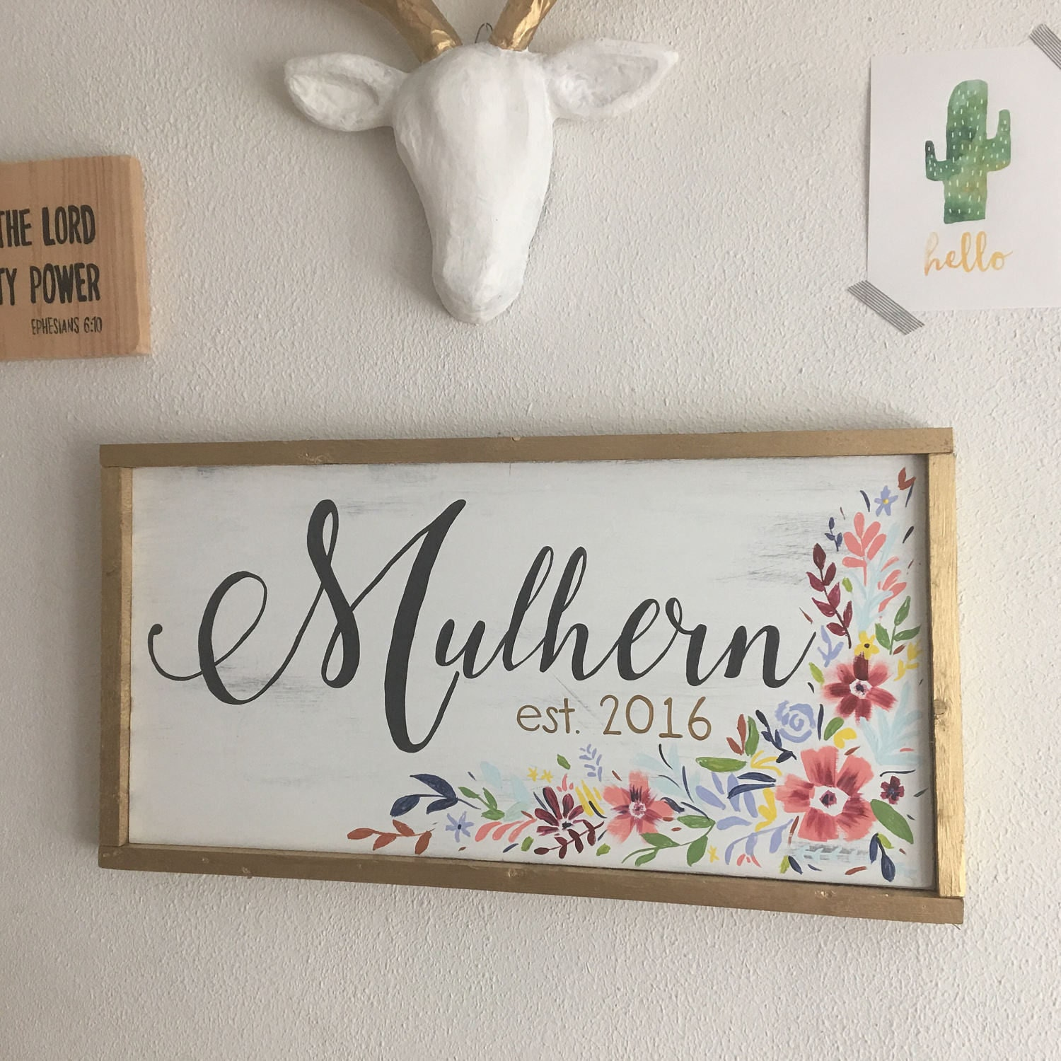 Hand Painted Framed Wooden Sign Custom Last Name and Established ...