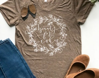 Short Sleeve T Shirt Beauty for Ashes with Floral Wreath Hand Drawn Hand Lettered Isaiah 61:2-3 Bible Verse Scripture Christian Clothing
