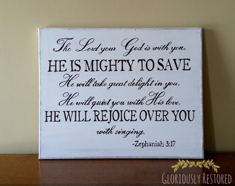 Hand Painted Canvas with Bible Verse Zephaniah 3:17
