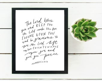 Digital Print Hand Lettered Blessing Numbers 6:24-26 | bible verse | Scripture | Digital Download | The Lord Bless and Keep You