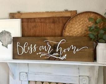 Hand Painted Hand Lettered Wooden Sign Bless Our Home