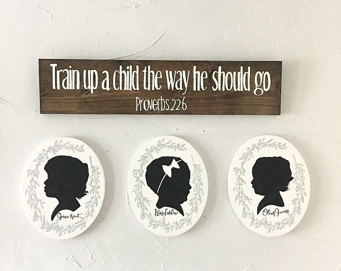 Featured listing image: Hand Painted Canvas Silhouette, Custom Silhouette Portrait, Child's Silhouette Portrait, Mother's Day Gift Idea, Gallery Wall, Keepsake