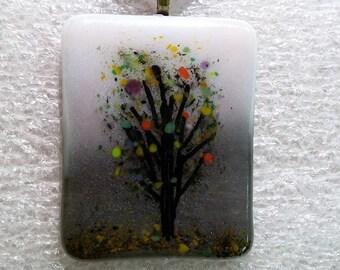Fused Glass Winter Tree Necklace Pendant Handmade