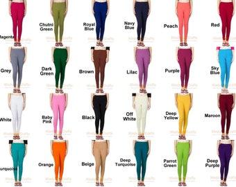 153e6663942cf9 Womens Ethnic Cotton Churidar Leggings Solid Pants Yoga Leggings Casual  Trouser Authentic Stretch Lycra Indian Comfortable Leggings