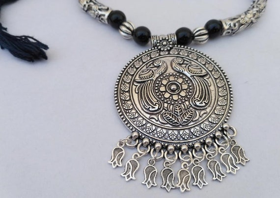 Orti Jewelry Bubbles Antique Silver Plated Vintage Necklace with Adjustable Length