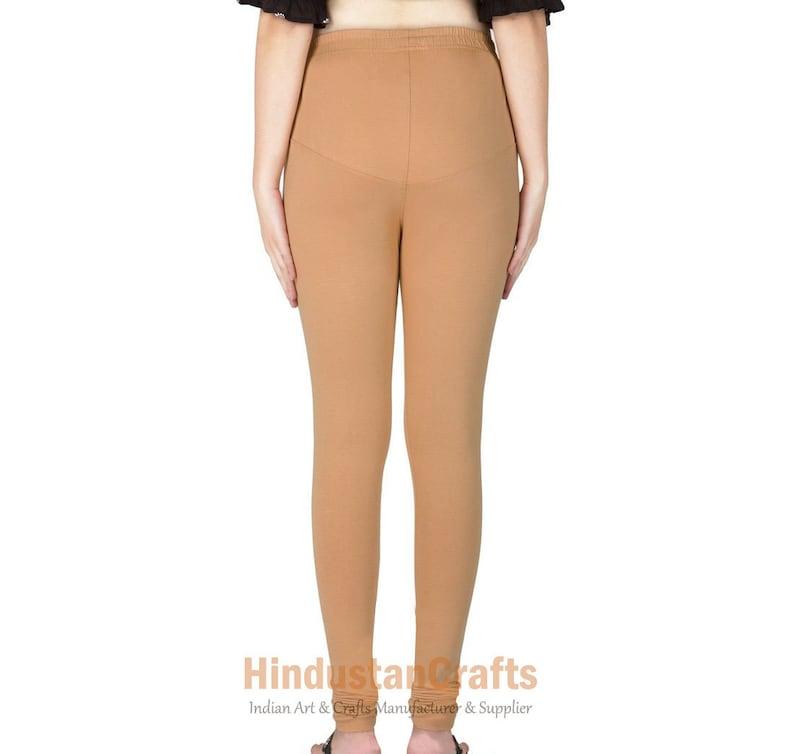 Womens Ethnic Cotton Churidar Leggings Solid Pants Yoga Leggings Casual Trouser Authentic Stretch Lycra Indian Comfortable Leggings