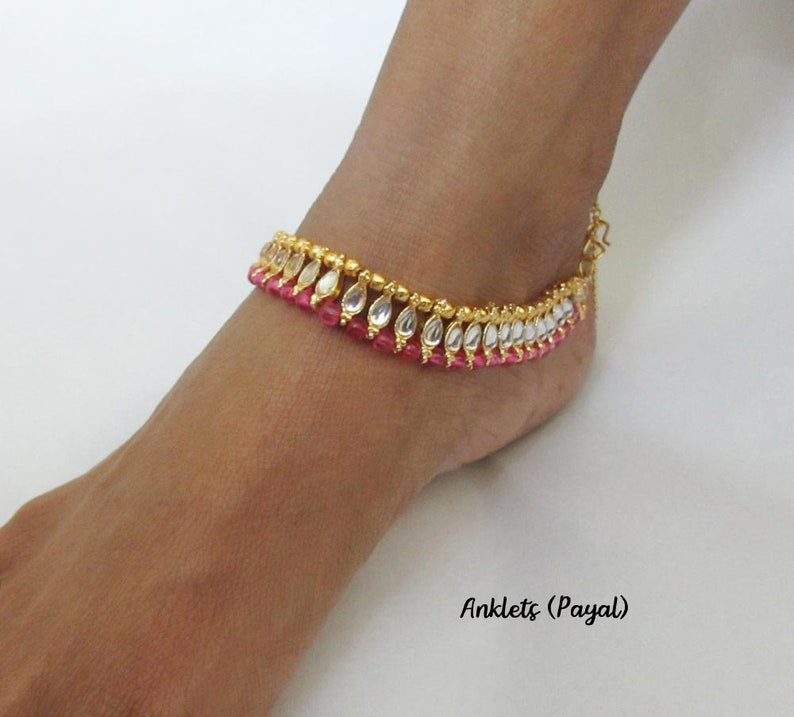 Pink Color Payal  Pink Anklets Gems Beads and Kundan Work Best Gift For Womens and Girls