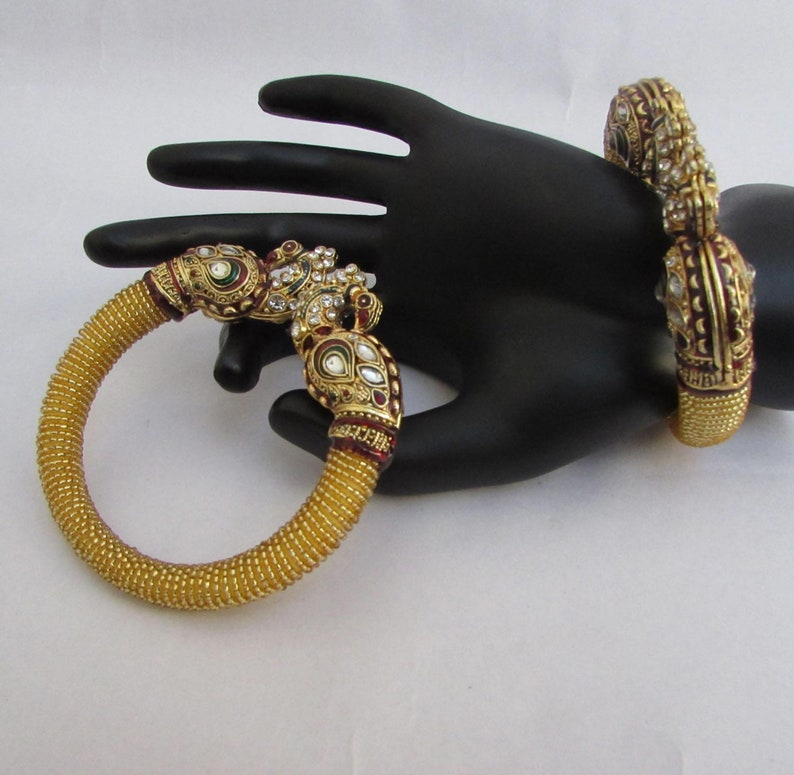Very Beautiful Golden Bangles Traditional Free Size Peacock Bangles Fit to All Size Wedding BanglesBridal Bangles Indian Bridal Bangles