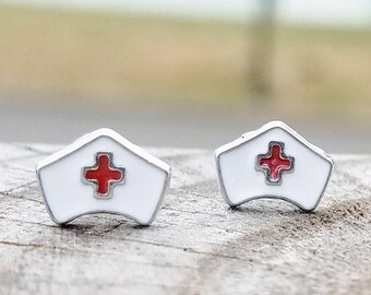 Nurse cap earrings on plastic posts for sensitive ears