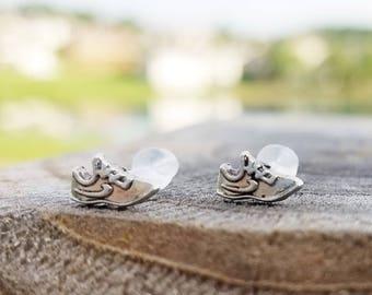 Silver running shoe plastic post earrings for sensitive ears