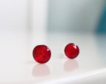Metal Free Birthstone plastic post earrings for sensitive ears - JAN - JUN