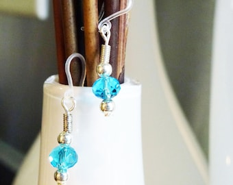 Colorful faceted gem sphere beads with  silver wire accents on plastic french hooks for sensitive ears - MULTIPLE COLORS