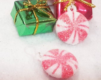 Red and white striped peppermint candy earrings on plastic french hooks for sensitive ears