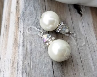 Classic pearl bead earrings on plastic french hooks for sensitive ears
