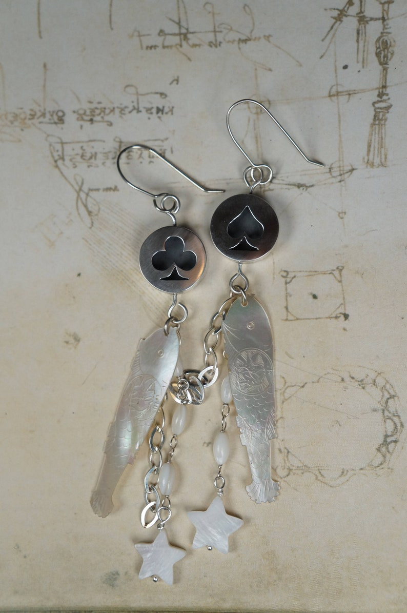 Dangle earrings 18th century antique counters Sterling silver Silver earrings 19th century Long earrings Gaming counters Fish earrings