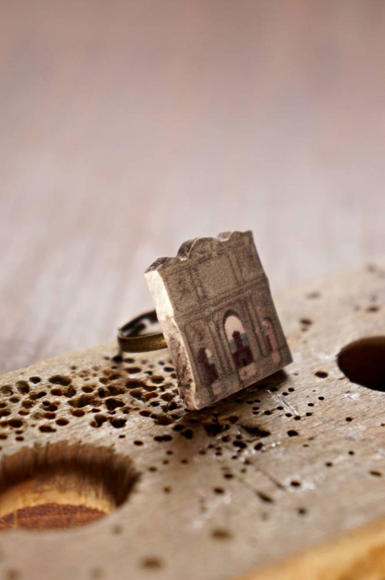 Skyline ring Gray ring Gift for her Architectural ring Gift for architect Architecture ring Renaissance ring Cityscape ring
