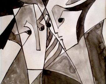 Eyes Conversation - An Original One-of-a-Kind Drawing / Art Piece / Wall Decor by Arseen Macklin @Claycanvasshop