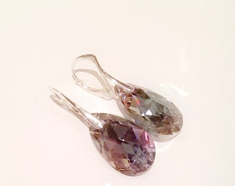Iridescent Swarovski Crystal and Sterling Silver Drop Earrings