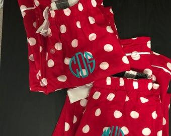 5b7573a906 Monogrammed Pajama Pants  Monogrammed Polka Dot Pajama Pants  Monogrammed  Christmas Pajamas