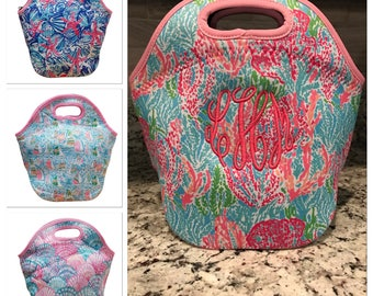 Monogram Lunch Bag/ Insulated Lunch Bag/ Monogram Bottle Bag/ Lily Inspired Lunch Bag