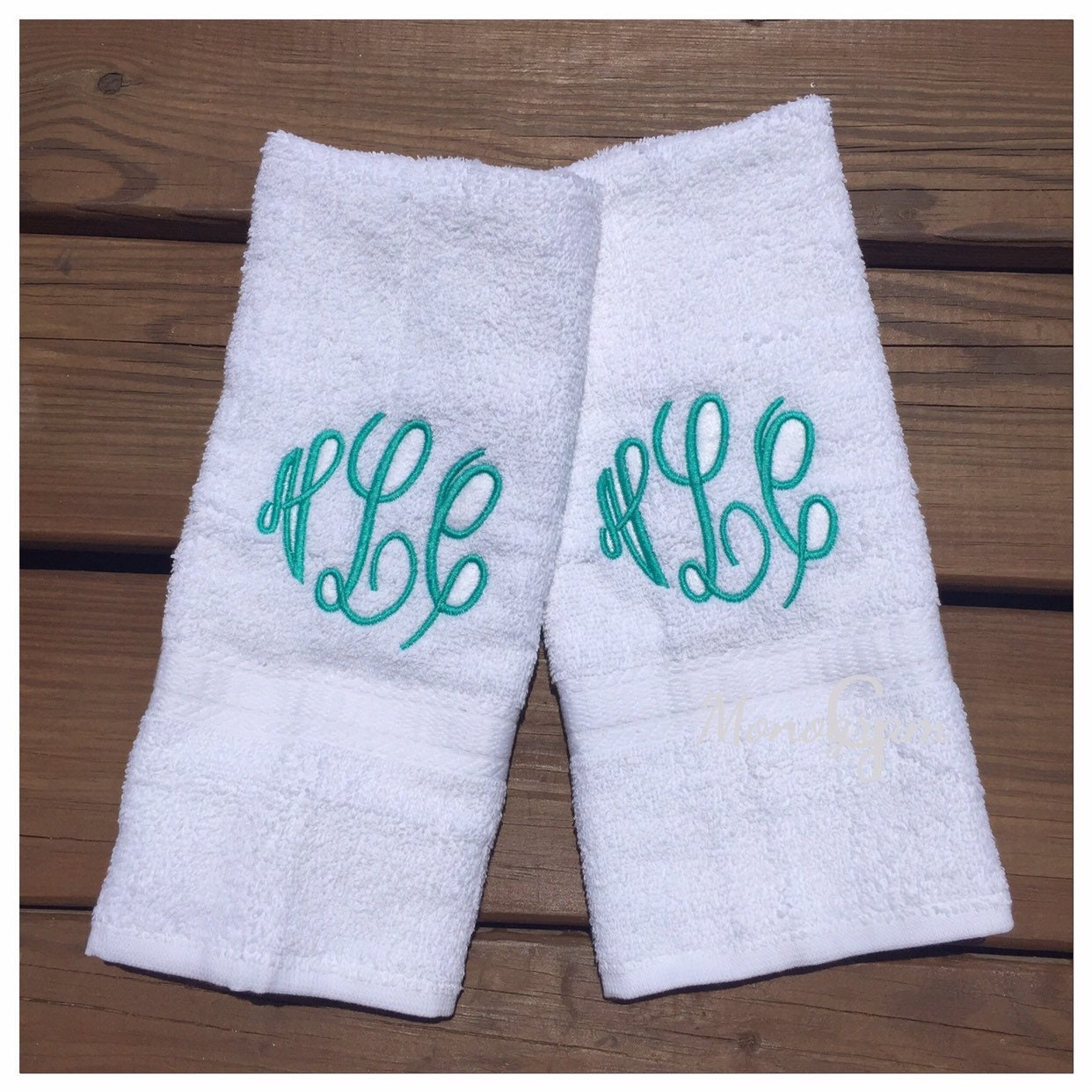 Monogrammed Hand Towel Set/ Monogrammed Towel Set/