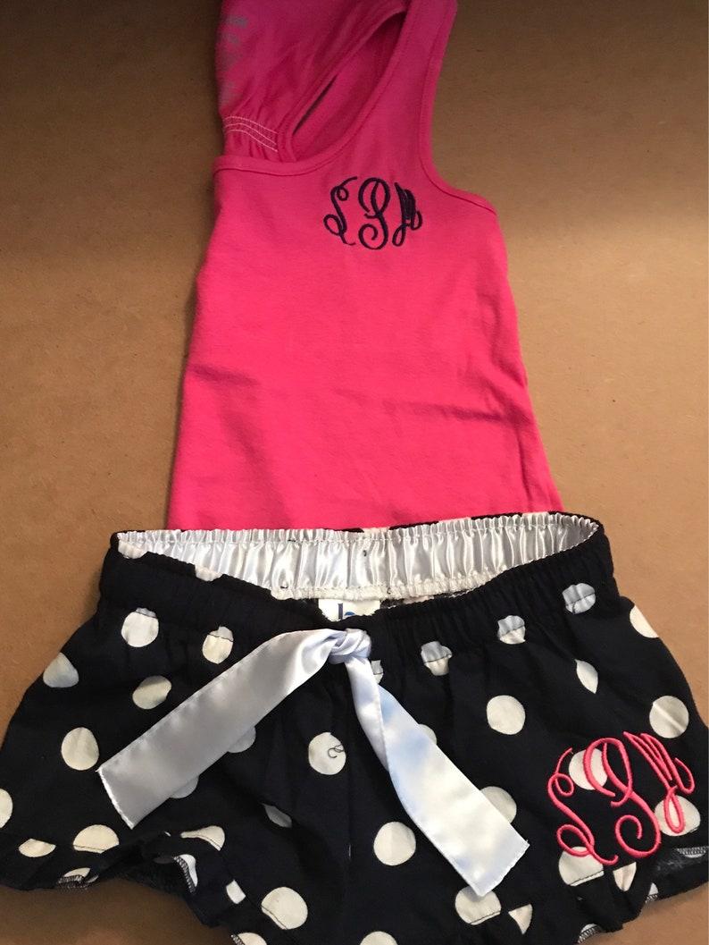 414da07540 Monogrammed Pajama Set/Pajama Set/ Tank Top and Shorts Set | Etsy