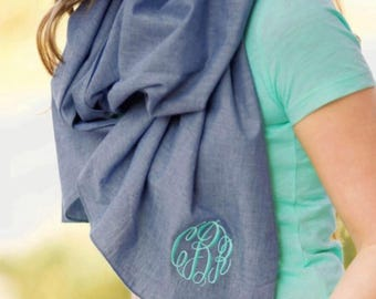 Chambray Scarf/ Monogrammed Chambray Scarf/ Chambray Scarves/ Monogrammed Scarves