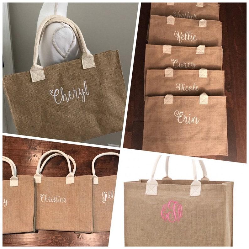 fd296940d Monogram Burlap Tote/ Burlap Bag/ Monogram/ Burlap Tote Bag | Etsy