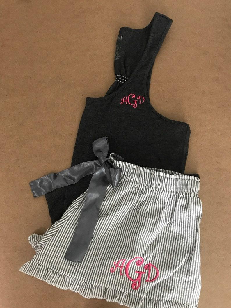 af4d09cd2e Monogrammed Pajama Set/ Tank Tops and Pajama Shorts Set/ | Etsy