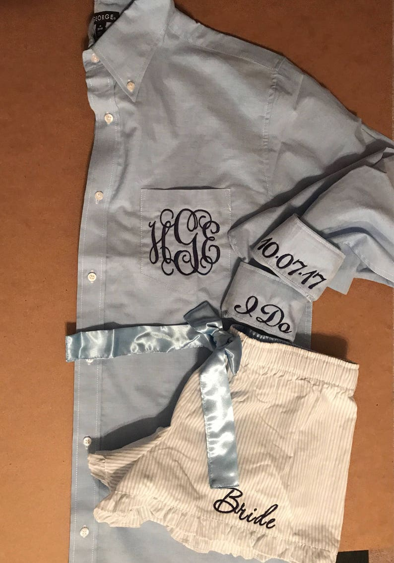 Monogrammed Oxford Shirt /& Boxer Set monogrammed bridal set getting ready outfit
