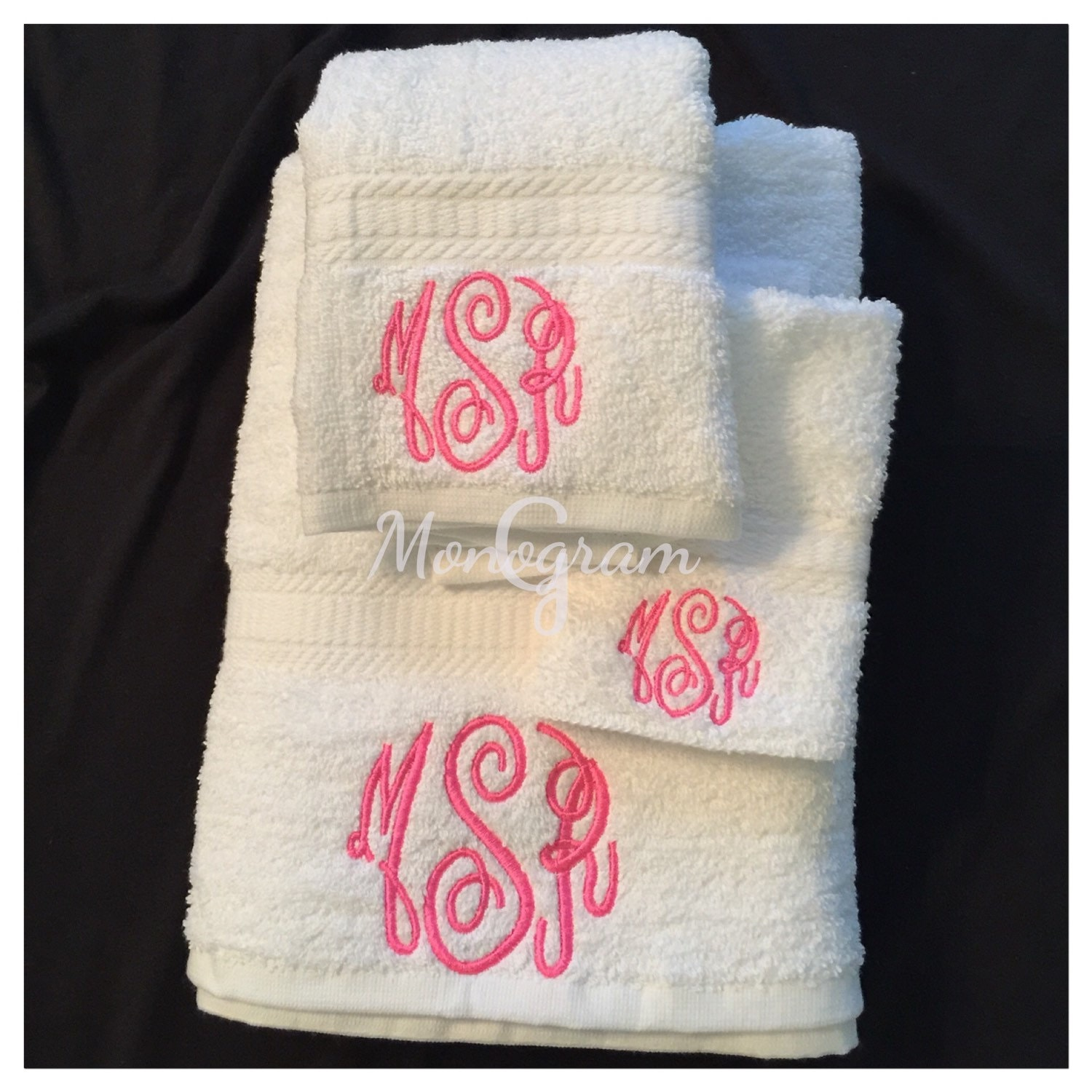 Monogrammed Towel Set/ Monogrammed Bath Towels/ Monogram